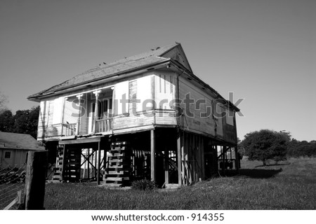 Very old house ready to be moved - stock photo