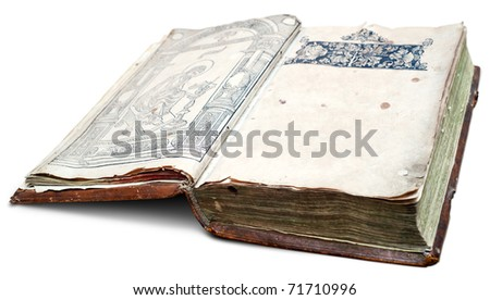 Very old manuscript with clear space on page. Clipping path included.