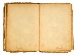 Very old open book and empty pages