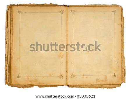 Very old open book with a frame
