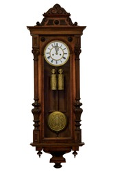 Very old original grandfather clock in wooden case, europe, isolated