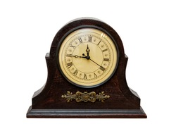 Very Old Retro Antique Clock -  isolated on white background