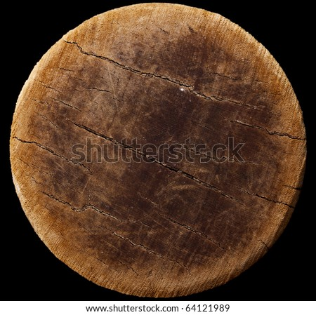 very old round wood, antique  potato masher bottom, isolated on black