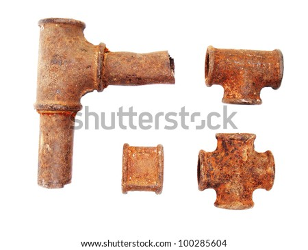 Very old rusty sanitary pipe isolated on a white background