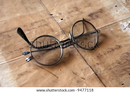 style eyeglasses on the vintage paper stock photo