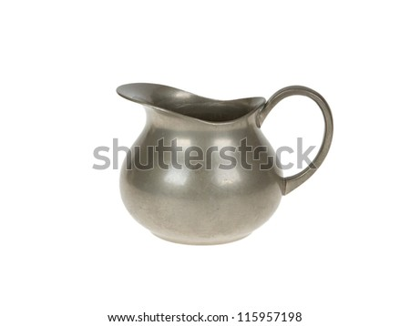 Very old tin sugar pot full of scratches, isolated on white
