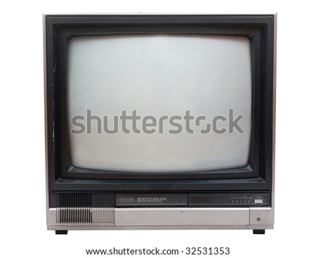 Very old TV set isolated over white in studio. Clipping path included.