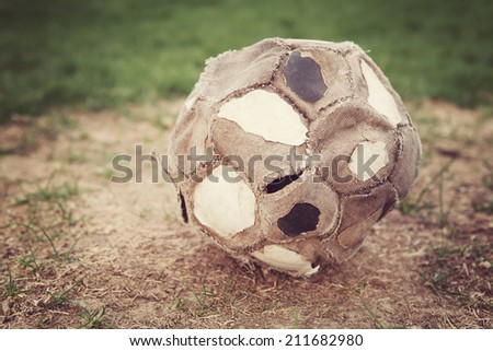 Very old well used soccer ball Stockfoto ©