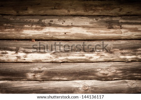 Very old wooden house wall as background