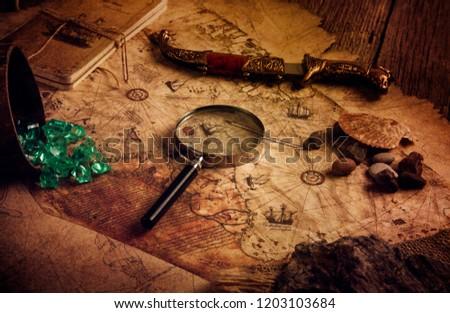 very old world map , ottoman map , world map of piri reis Stockfoto ©