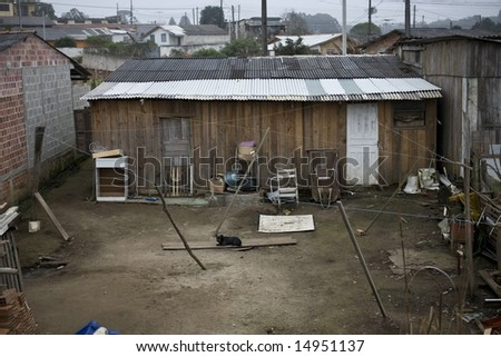 Very poor houses in Parana State - Brazil. - stock photo