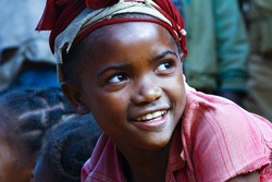 Very pretty malagasy child smiling in the village- poverty