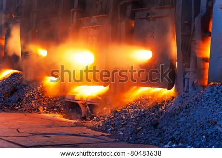 Very rare close view of working open hearth furnace at the metallurgical plant
