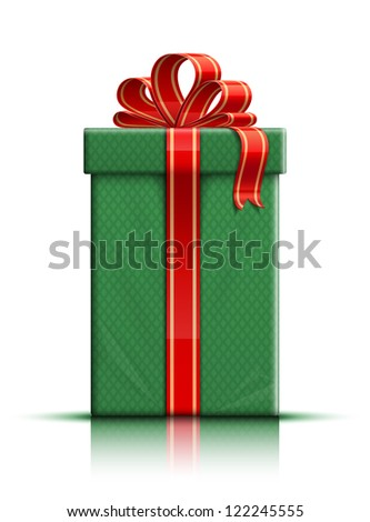 Very realistic illustration of green gift box with ribbon and bow. Raster version