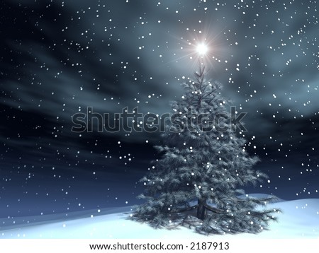 very realistic xmas tree in a snowing night