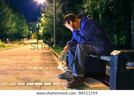 very sad teenager in the night park get break an appointment
