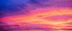 Very saturated sunset or sunrise skies in blue and purple colors
