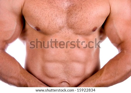 Very sexy muscular torso isolated on white