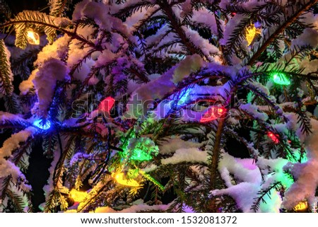 Very shiny Christmas decorations outside, night, Northern countries, Led lamps usage to save energy for green environment, snow corn, fir tree needles illuminated by lamps that on the Christmas tree #1532081372