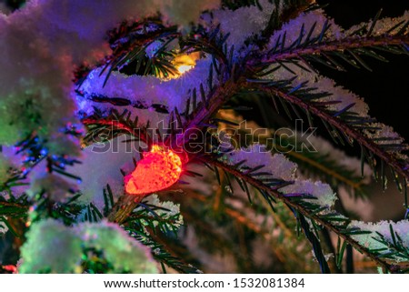 Very shiny Christmas decorations outside, night, Northern countries, Led lamps usage to save energy for green environment, snow corn, fir tree needles illuminated by lamps that on the Christmas tree #1532081384