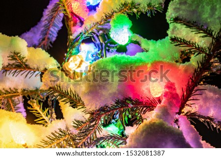 Very shiny Christmas decorations outside, night, Northern countries, Led lamps usage to save energy for green environment, snow corn, fir tree needles illuminated by lamps that on the Christmas tree #1532081387
