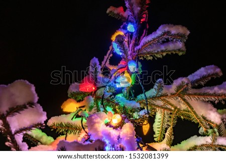 Very shiny Christmas decorations outside, night, Northern countries, Led lamps usage to save energy for green environment, snow corn, fir tree needles illuminated by lamps that on the Christmas tree #1532081399
