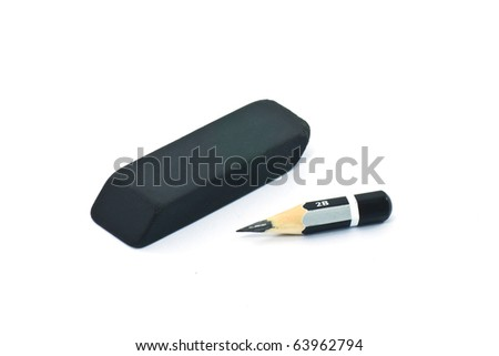 Very short  pencil and a black rubber (isolated)