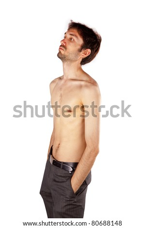 very skinny guy flexing his muscles