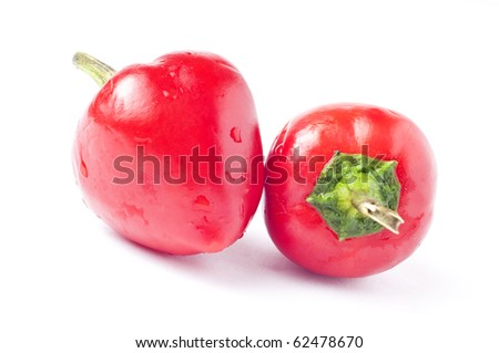 very spicy chili on white background