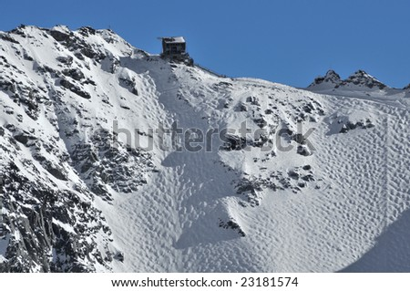 Very Steep Ski Run With MOGULS On Glacier With Cable Car Stock Photo ...