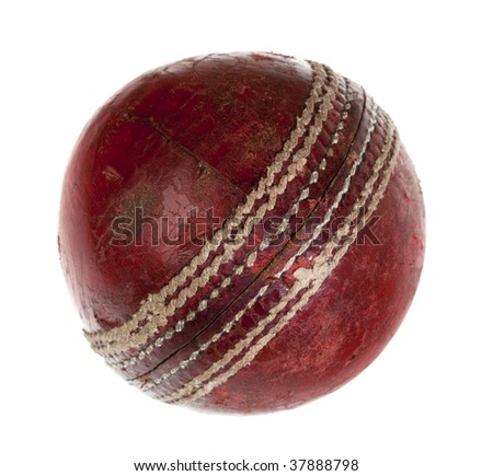 very used cricket ball, isolated on white