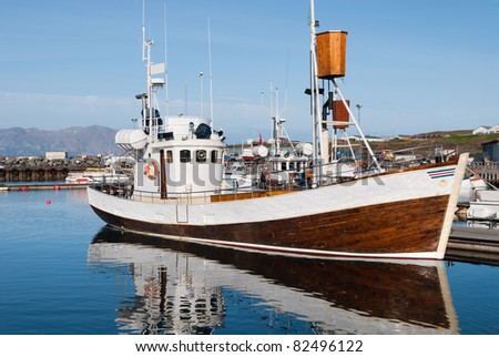 vessel for whale watching in Iceland in the port of Usavik