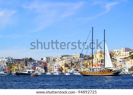 Vessel in Procida, island in Italy, Naples