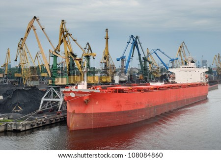 Vessel under loading in Riga port, Latvia.