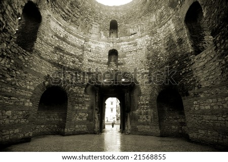 Vestibule interior in the Diocletian palace in Split, Croatia