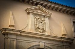 Vestige of the Franco dictatorship in the Main Square of Guadix, Granada, Andalusia, Spain