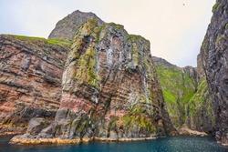 Vestmanna stunning bird cliffs and atlantic ocean, the elephant. Faroe islands.