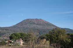 Vesuvius photographed on a sunny day