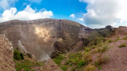 Vesuvius volcano crater next to Naples in a summer day, Italy