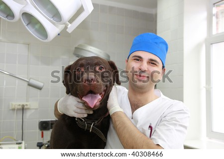 Vet and dog.