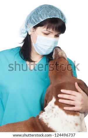 Vet and dog look to each other