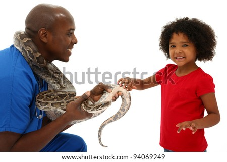 Vet and Preschool Child Snake Owner Helping Pet Over White Background Python