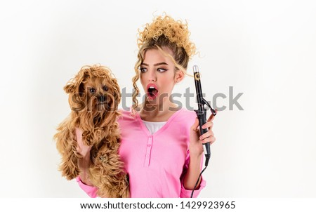 Vet. Dog grooming. Pet salon. Petshop. Dog salon. Beauty salon for animals. Grooming master making dog hairstyle. Pet grooming. Animal clinic. Pet store.