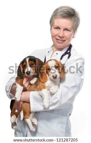 Vet holding a couple of cute puppies. Isolated over white background