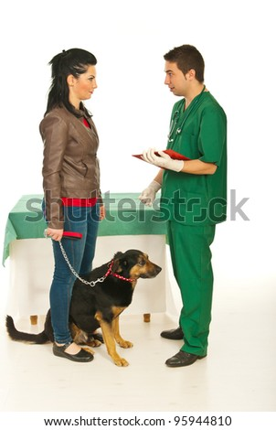 Vet man explaining owner womanw ith dog the treatment for pet  in his office