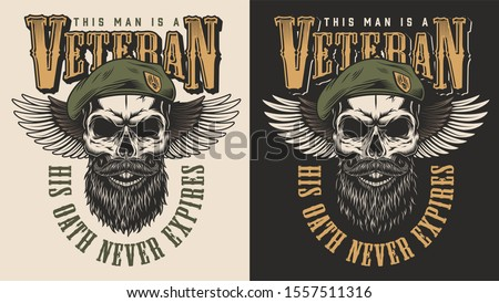 Veteran concept emblem with the skull in beret. illustration