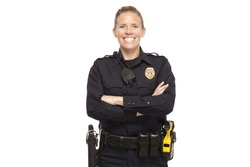 VETERAN POLICE OFFICER   Happy policeman posing with arms crossed against white background