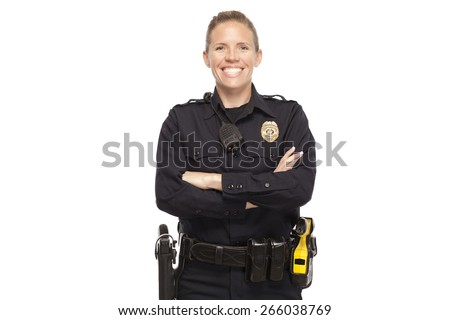 VETERAN POLICE OFFICER | Happy policeman posing with arms crossed against white background