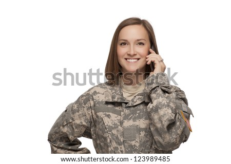 Veteran soldier Female talking on her cell phone