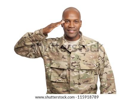 Veteran Soldier | Happy serviceman salutes #115918789